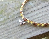 Anklet Honey Bee Charm Honey and Bourbon. Size and Color Options.