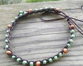 Anklet brown and green with wood beads. Size choice.