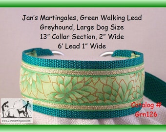 Jan's Martingales,  Green Walking Lead, Dog Collar and Lead Combination, Greyhound, Large Dog Size, Grn126