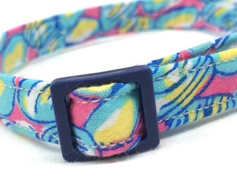 Lilly Pulitzer Fabric Cat Collar Blue Pink Boy Girl Clam Jam