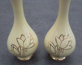 Vintage Deco China Bud Vases Pair 22K Gold Trim