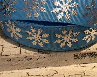 "3 YARDS 1"" Christmas Winter Metallic Silver Foil Snowflake Blue Grosgrain ribbon"