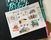 Book Lovers Decorative Stickers | Watercolor | Erin Condren Happy Planner Personal Planner Bullet Journal | Matte