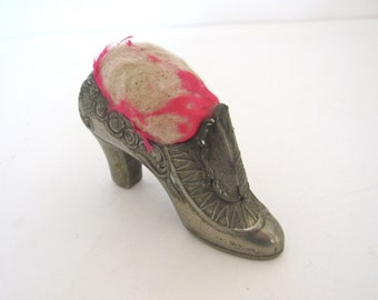 Victorian Pin Cushion Shoe, Statue of Liberty New York Souvenir Antique Pin Cushion