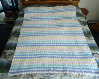 Large Pastel Stripes Hand Crocheted Shells Afghan, Blanket, Throw - Home Decor