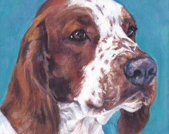 """Welsh Springer Spaniel dog portrait art CANVAS print of LA Shepard painting 12x12"""""""