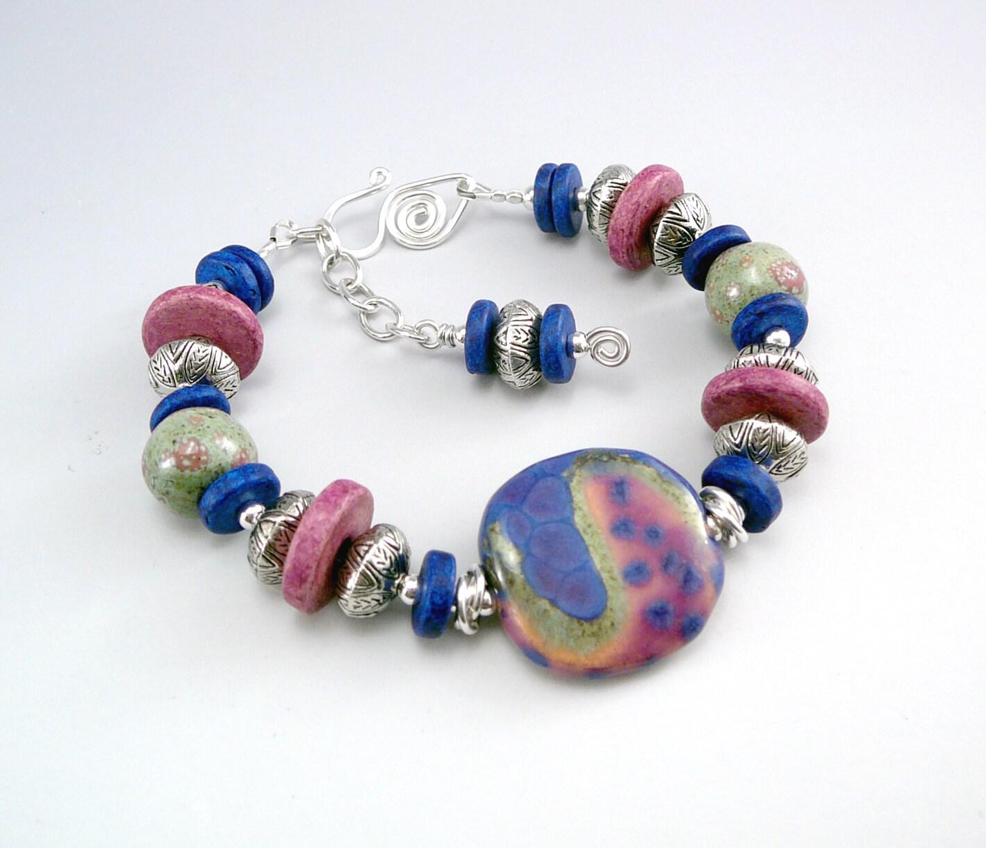 Ceramic Bead Beads: Blue Bead Bracelet Ceramic Bracelet Adjustable Bracelets