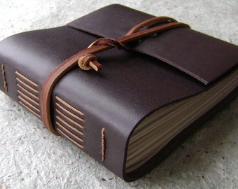 "Leather journal, 360 pages, approx. 5.5""x 5"", dark brown, handmade journal by Dancing Grey Studio on Etsy(1899)"