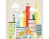 New York Art Print Skyline, Wall Art Paper Poster, Cityscape Illustration, Decor for Home, Office and Nursery, Christmas Gift, SPPNYM1