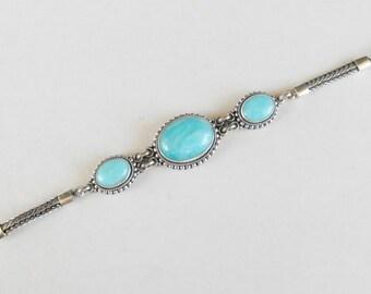 Sterling Silver Peruvian Amazonite bracelet / silver 925 /  Bali handmade Jewelry /  granulation technique / (#711m)