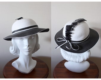 1960s Hat / Vintage Black & White Wide Brim Hat with Feathers