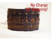 cuff bracelet, fiber art bracelet, wide cuff, beaded cuff, Boho cuff bracelet, fiberart jewelry, brown bracelet