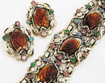 Amber Molded Glass Bracelet and Earring Set