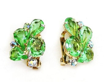 Bright Green Glass Clip On Vintage Earrings