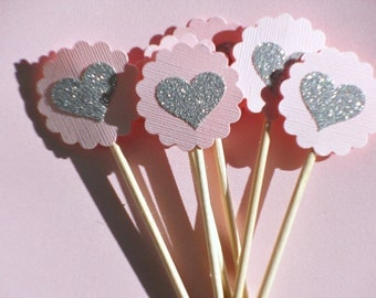 Silver Heart Cupcake Toppers - Bridal Shower Cupcake Toppers - Baby Shower Cupcake Toppers - Silver Glitter Pink Cupcake Toppers -  PST