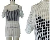 Mesh Knit Shirt/ Vintage Burning Man Mosquito Mesh Shirt/ Sheer Vintage Shirt/ Square Knit Shirt/ Festival Knit Shirt/ 1960s Vintage Shirt