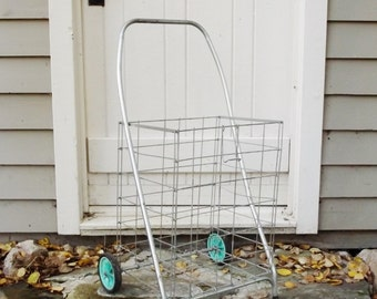 Vintage Market Cart Collapsible Large Cart with Basket and Wheels