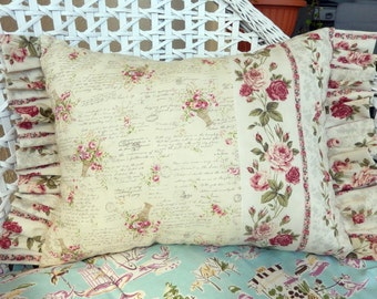 Brocante Romantic Shabby Chic Pillow with vanilla and pink roses