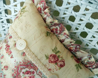 Vanilla Vintage buttons, roses and letters shabby chic Pillow