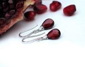 Garnet Drop Earrings | Dark Pomegranate Red Garnet Pear Briolettes | Argentium Silver | Small Dangles | January Birthstone | Made to Order