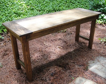"Farmhouse Table or Desk  23"" Deep Hardwood In Variable Widths and Optional Drawer"