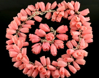 1930's Rosebud Necklace and Bracelet - Plastic on Celluloid Chain
