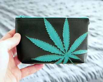 Cannabis Leaf Mini Zipper Bag - Pot Leaf Pouch - Turquoise Marijuana Leaf Silhouette on Black Vegan Leather