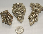 3 antique dress clips rhinestone repair stones- still work old pot metal  1920s