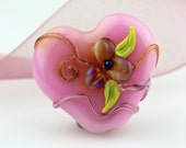 SRA Lampwork Glass Heart Bead Valentine Focal Pink with Iridescent Flower