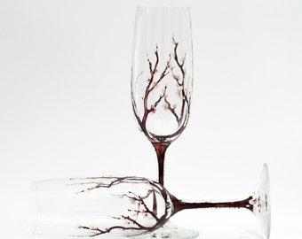 Cherry blossom toasting flute -- hand painted champagne flute