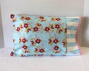 Toddler Pillowcase Fits 12 x 16 Pillow Baby Blue Floral StripeTravel Size Pillow Cover Crochet Edge