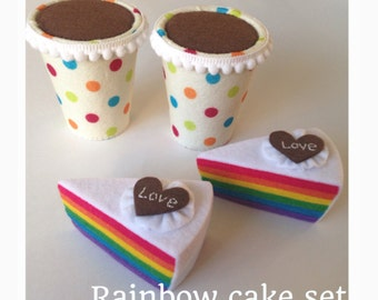 "Etsy Pretend Felt food Play food  birthday  kids gift ""Rainbow cake set """