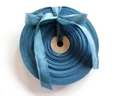 Vintage 1930's-40's French Woven Ribbon -Milliners Stock- 5/8 inch Powder Teal