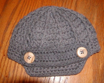 Charcoal Beanie with buttons size is Infant-Adult sizes.  Can be made in other colors