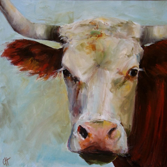 Cow painting lucile print of an original painting on paper for Cow painting print