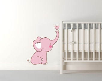 Baby Pink Elephant Wall Decal - Elephant wall decal, nursery wall sticker elephant art, elephant decal wall decor - Nursery Wall Decal N95
