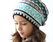 Knit Slouchy hat, 2 sizes, Fair Isle hat  for Girls, Teens, Women, Youth hat, Warm and Colorful, turquoise, grey, white, black