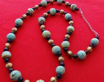"""20% off sale Vintage  26"""" necklace with swirled turquoise all glass beads in great condition"""