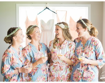 Silver Bridesmaids Robes. Kimono Robes. Bridesmaids gifts. Getting ready robes. Bridal Party Robes. Floral Robes. Wedding Party Robe