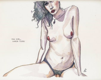 Cam Girl - Watercolor & Illustration 9 x 12 in - Framed