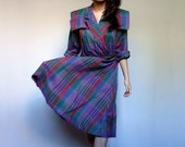 Vintage Plaid Dress Simple 80s Collared Fall Dress Purple Blue Green Womens Dress- Extra Large XL