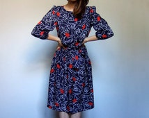 80s Puff Sleeve Dress Red White Blue Knee Length 1980s Casual Navy Floral Dress Women - Small to Medium S M