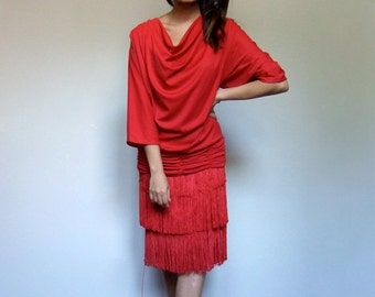 Red Dress Woman Vintage Cowl Neck Fringe Tassel 70s Dress Batwing Sleeves Drop Waist Party Dress - Large to Extra Large L XL