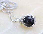 Black Onyx Pendant Necklace - Black Gemstone Necklace - Onyx Necklace - Minimalist necklace - Delicate Necklace