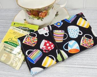 Large tea wallet, 8 pockets, gift for tea drinker, black tea wallet, travel tea bag case