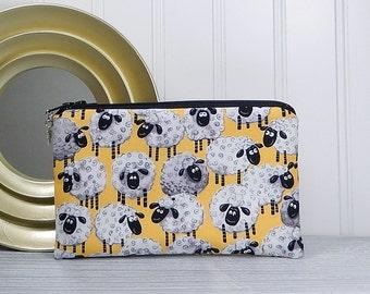 Sheep coin purse, phone pouch, flat zipper bag, card cash wallet, makeup bag, coupon envelope, farm animals bag