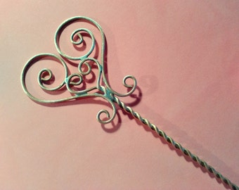 Hair pin, Hair stick, Brass heart, Hair accessories, brass wire, valentines day