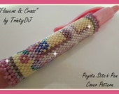 BP-PEY-106-2016-036 - Flowers and Cross - Peyote Pattern, Pen Cover Pattern, Beadwork design, beadweaving pattern, beaded pen, peyote stit