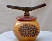 Reserved for Katya. Cinnamon Ceramic Honey Jar. Stoneware Cookie Jar. Handcrafted Sugar Pot. Inspired by Nature Handmade Pottery.