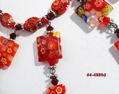 FREE SHIP Red Millefiori Beaded Necklace (4-4880)